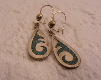 Tribal Turquoise Inlay Teardrop Earrings set in Silver