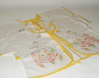 Pair of Vintage Flannel Baby Sacques with Floral Motif to be Embroidered
