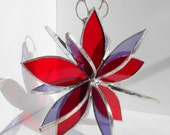 3D stained glass red purple flower twirl garden art sculpture home decor hanging ornament