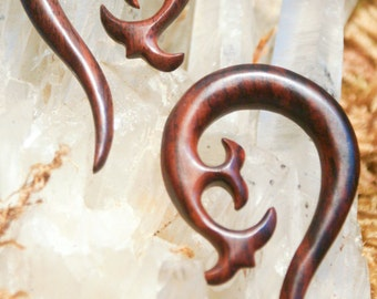Steampunk Victorian Hanging Wood Sono Taper Gauge Earrings 6ga (4 mm)
