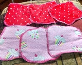Seconds Dual Layer Cloth Wipe Set of 3 Minky and Snuggle Flannel super soft hearts on one side cupcakes on other