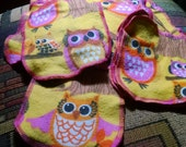 Cloth wipes Two layer wipe snuggle flannel owls print set of four
