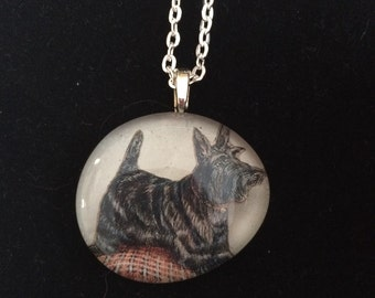 Scottish Terrier Glass Pendant Necklace - Scottie - dog lovers