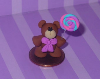 Boomer a Miniature Teddy Bear with Lollipop