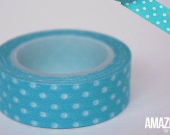 Teal & White dotted washi tape - Paper Masking Tape