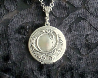 antiqued silver locket necklace
