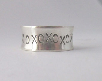 Silver ring XO kiss hug sterling silver band stamped ring 8mm width
