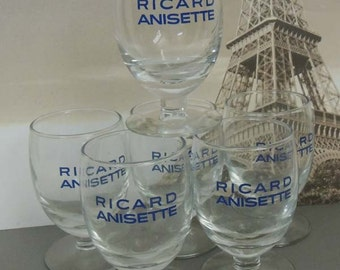 Set of 6 Vintage French Ricard Anisette Glasses / Bistro Cafe French Barware  /Ricard Pastis / Ricard Goblets