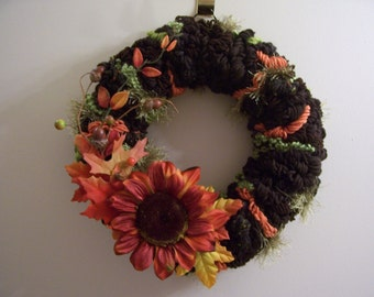 Brown, Olive Green and Orange Fall Yarn Loop Wreath with Foliage and Sunflower - FREE SHIPPING!