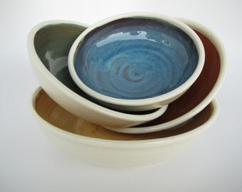 Ceramic Nesting Bowls, Handmade Stoneware Serving Bowls, Serving Bowls, Salad Bowls, Multi-Colored Pottery Bowls