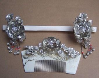 Vintage Japanese Hair Comb Hairpin Geisha Set Silver tone Faux Pearls Trembler Kanzashi Hair Jewelry Hair Ornament Headdress Hair Pick