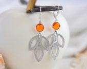 Orange Dangle Earrings in Silver. Leaf Drop Earrings.  Orange Jewelry. Bridesmaid Earrings. Gift for Her. Holiday. Christmas Gift.