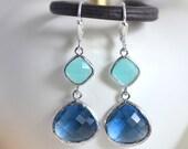 Sapphire Blue and Aqua Dangle Earrings in Silver.  Dangle Earrings.  Drop Earrings. Wedding Jewelry. Silver Earrings. Gift.