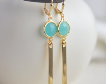 Turquoise Drop Earrings.  Jewel and Gold Bar Drop Earrings.  Stick Earrings. Bar Earrigs. Gift.  Dangle Earrings. Modern Drop Earrings.