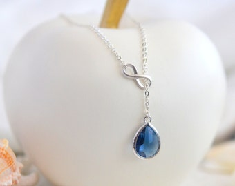 Sapphire Blue Teadrop and Silver Infinity Lariat Necklace.  Lariat Necklace.  Necklace. Gift for Her. Bridesmaid Jewelry. Christmas Gift.