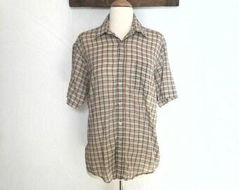 Mens Plaid Shirt Vintage Short Sleeve Tan Dress Shirt - M