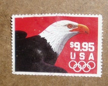 Vintage Used USA Stamps, Scott 2541, Eagle  and Olympic Rings, c. 1991