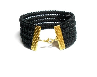 Crochet braid fiber bracelet BLACK cotton yarn, gold metal lobster lock