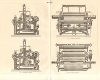 1890 Weaving Machines, Weaving Looms, Power Looms Antique Engraving Print