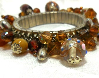 Vintage Cha Cha Bracelet Brown Red Topaz wedding cake beads art glass silver Boho Fall