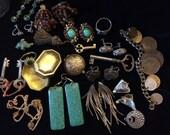Bulk Vintage Earrings, Keys, Locket, Coins, Pendants, Beads and Rings