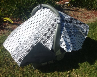 Baby Car Seat  Canopy - Black and White South West Print