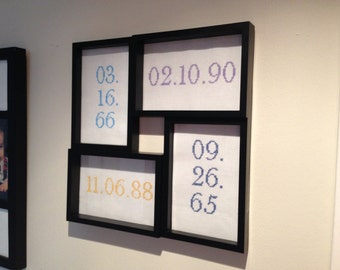 Personalized family birth dates in birthstone colours - framed cross stitch