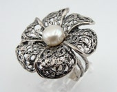 Israeli Handmade flower Design 925 Silver Pearl ring,white pearl ring, silver filigree ring, Woman ring (v r11289)