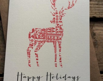 Rustic Reindeer Happy Holidays Cards / Christmas Cards / Holiday Cards / Greeting Cards