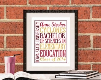 Personalized Typography college graduation gift - JPEG file - 8x10 graduation, customized stats