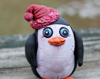 Penguin Polymer Clay Sculpture