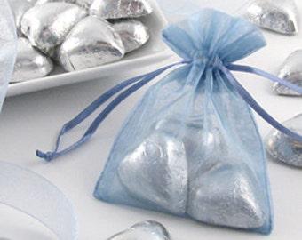 Organza Bags Wedding Favors Organza Bags 100  Blue Sheer Bridal Baby Shower Party Favor Easy