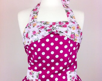 Retro apron with bow, white polka dots on a pink background, fully lined.