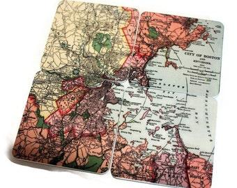 Vintage Boston Map Magnets - set of 4
