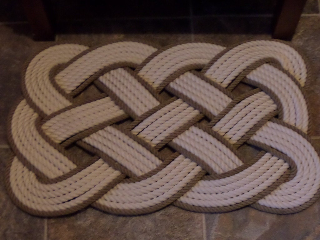 Cotton bathmat with khaki gold accent 29 x 14 nautical for Rope bath mat
