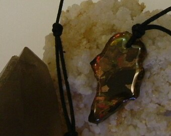 "Bright Red and Gold Gem Fire Ammolite Found in Utah on Matrix, Mens Necklace with Black 26"" Necklace Cord 508"