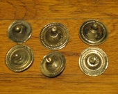 6 Large Silver Tone Metal Buttons, Tribal Belly Dance