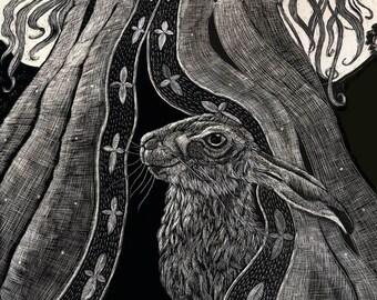 Art Card of Beneath her Robes Scraperboard design