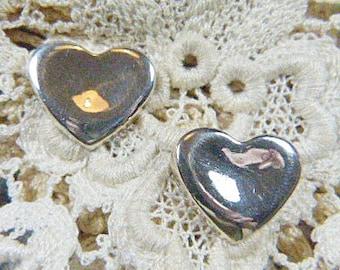 Vintage Silver Heart Pierced Earrings - V-EAR-616 - Silver Heart Earrings - Pierced Heart Earrings - Silver Heart Earrings