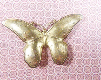 Vintage Golden Butterfly Brooch - BUT-111 - Gold Butterfly Brooch - Gold Butterfly Pin