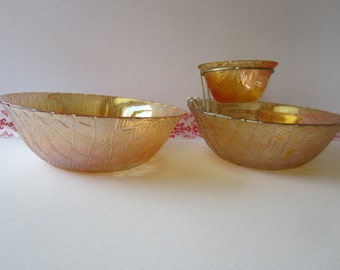 "Vintage Indiana glass ""3"" Piece,  Basket Weave, ""Chip and Dip"" bowl set."