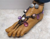 EVIL QUEEN. Purple, black, and silver barefoot sandals. Bellydance and club fashion. Fancy style.  HFT-145