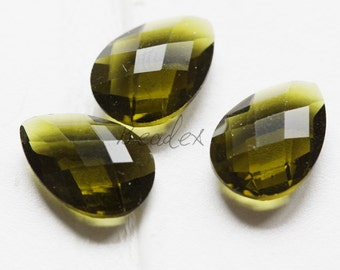 2 Pieces / Hand Cutted Teardrop / No Hole / Crystal Glass / Olive 14.15x10.10mm (3005C-S-178)
