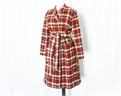 Vintage 60s Plaid Coat M Tweed Belted Wrap Trench Red Black White Gray Wool