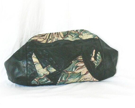 Vintage 80s Clutch Purse Black Patchwork Floral Fabric Leather