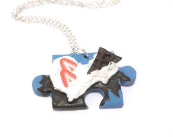 Puzzle Necklace Chocolate Necklace ( food miniature blue necklace whipped cream polymer clay blue puzzle strawberry mini food jewelry food )