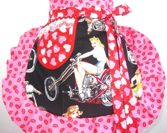 Red Lips and Heart Pin Up Girl Valentine Apron