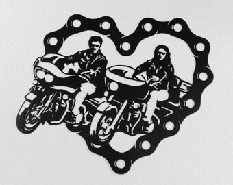 Sweetheart Motorcycle Riding Couple  Metal Wall Art
