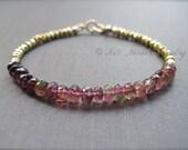 Ombre Pink Tourmaline and Gold Pyrite Bracelet, Gemstone Bracelet in Gold, 14K Gold Filled Tourmaline Bracelet