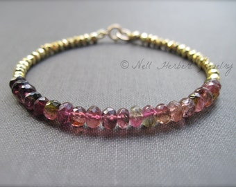 Ombre Pink Tourmaline and Gold Pyrite Bracelet, Gemstone Bracelet in Gold, 14K Gold Filled Tourmaline Bracelet